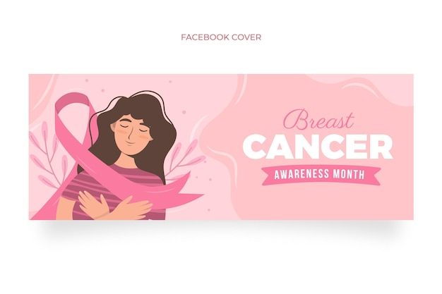 Ręcznie rysowane płaski szablon okładki mediów społecznościowych miesiąca świadomości raka piersi