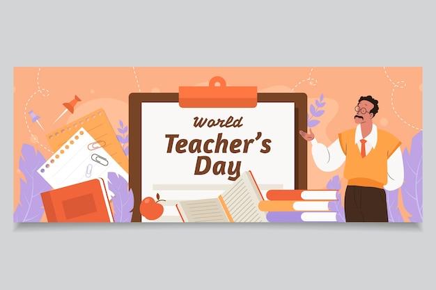 Ręcznie rysowane płaski szablon okładki mediów społecznościowych z okazji dnia nauczyciela