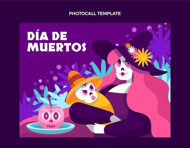 Ręcznie rysowane płaski szablon photocall dia de muertos