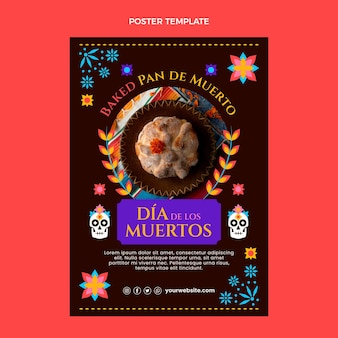 Ręcznie Rysowane Płaski Szablon Pionowy Plakat Dia De Muertos Premium Wektorów