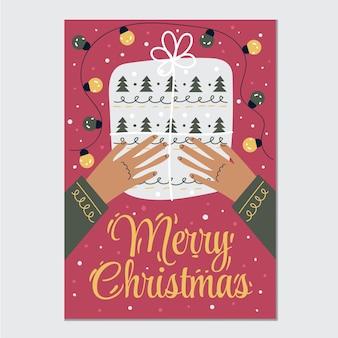 Ręcznie rysowane płaski szablon pionowy plakat wesołych świąt