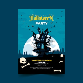 Ręcznie rysowane płaski szablon plakatu halloween party