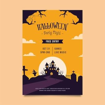Ręcznie rysowane płaski szablon plakatu pionowego halloween party