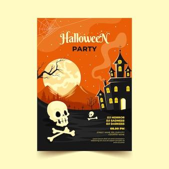 Ręcznie rysowane płaski szablon plakatu pionowego halloween