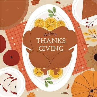 Ręcznie rysowane płaski szablon postu na instagram dziękczynienia