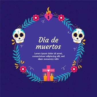 Ręcznie rysowane płaski szablon ramki dia de muertos