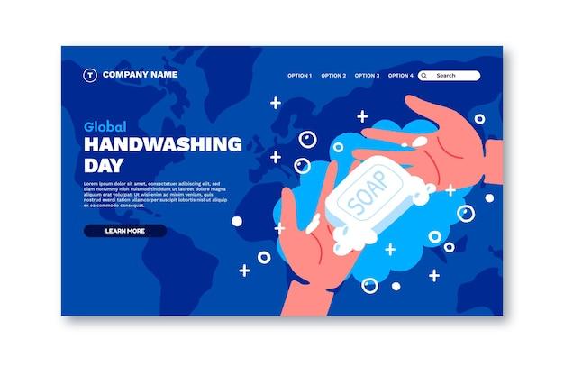 Ręcznie rysowane płaski szablon strony docelowej globalnego dnia mycia rąk