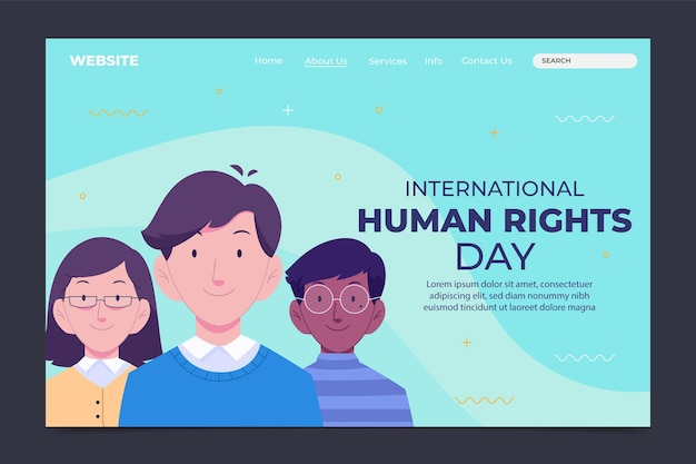 Ręcznie rysowane płaski szablon strony docelowej międzynarodowego dnia praw człowieka