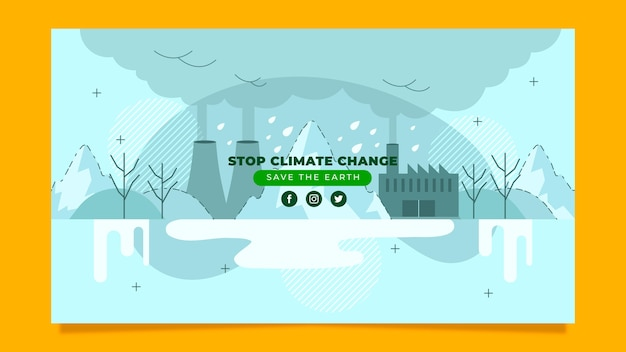 Ręcznie rysowane płaski szablon sztuki kanału youtube zmiana klimatu