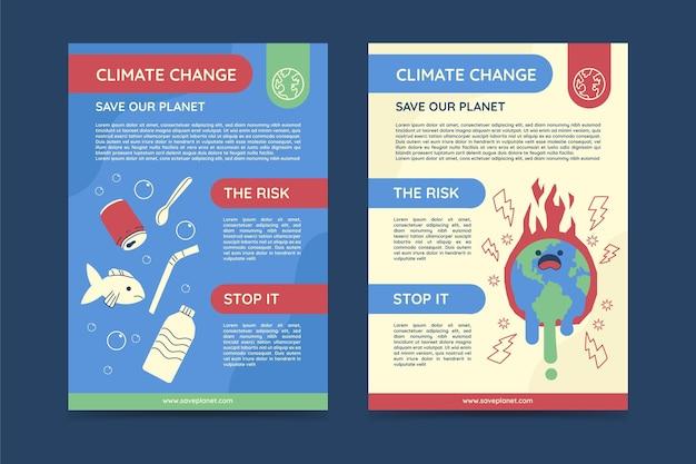 Ręcznie rysowane płaski szablon ulotki pionowej zmiany klimatu
