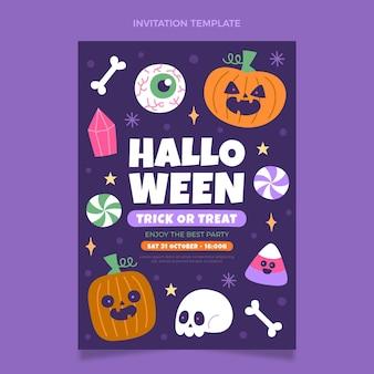 Ręcznie rysowane płaski szablon zaproszenia halloween