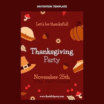 Ręcznie rysowane płaski szablon zaproszenia na święto dziękczynienia