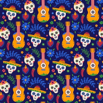 Ręcznie rysowane płaski wzór dia de muertos