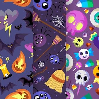 Ręcznie rysowane płaski wzór halloween