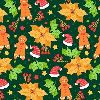 Ręcznie rysowane płaski wzór świąteczny