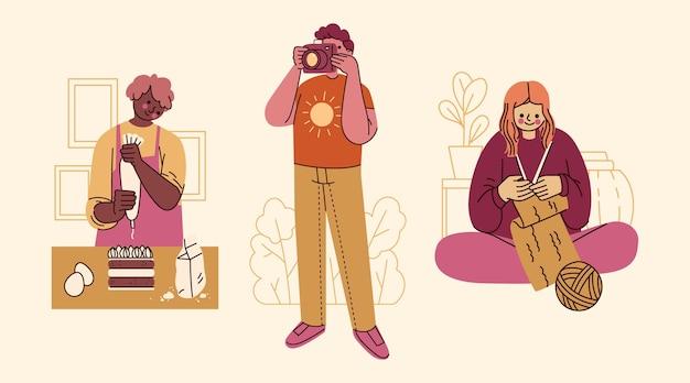 Ręcznie rysowane płaski zestaw hobby ludzi