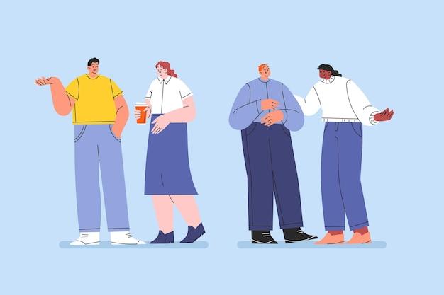 Ręcznie rysowane płaski zestaw ludzi rozmawiających