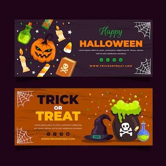 Ręcznie rysowane płaski zestaw poziomych banerów halloween