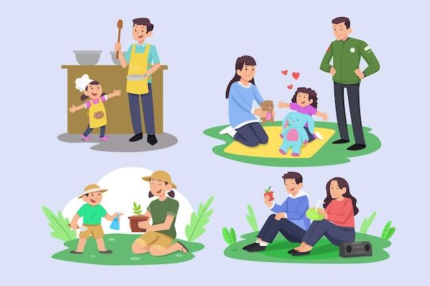 Ręcznie rysowane płaski zestaw scen rodzinnych