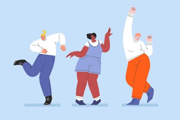 Ręcznie rysowane płaski zestaw tańczących ludzi