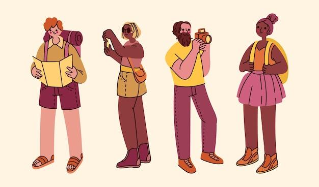 Ręcznie rysowane płaski zestaw turystów