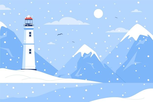 Ręcznie rysowane płaski zimowy krajobraz z latarnią morską