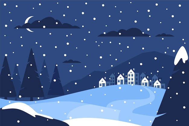 Ręcznie rysowane płaski zimowy krajobraz z wioską