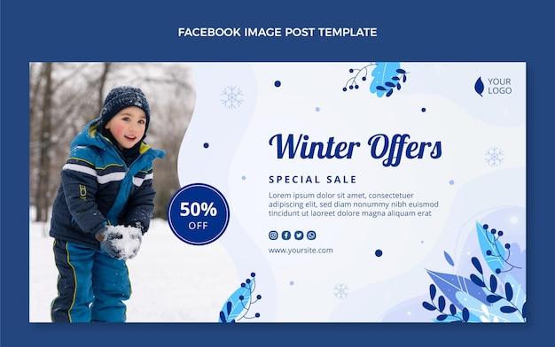 Ręcznie rysowane płaski zimowy szablon postu w mediach społecznościowych