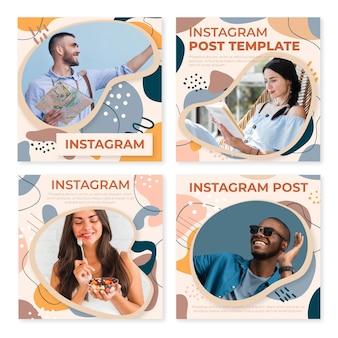 Ręcznie rysowane płaskie abstrakcyjne kształty kolekcja postów na instagramie