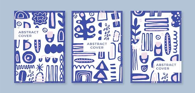 Ręcznie rysowane płaskie abstrakcyjne kształty obejmują kolekcję