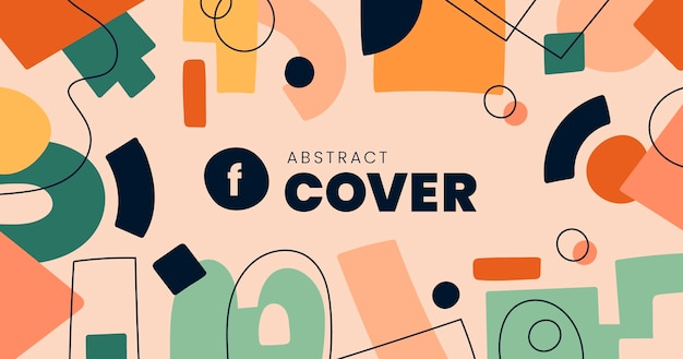 Ręcznie rysowane płaskie abstrakcyjne kształty post na facebooku