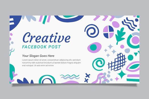 Ręcznie rysowane płaskie abstrakcyjne kształty szablon postu w mediach społecznościowych