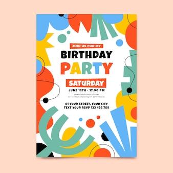Ręcznie rysowane płaskie abstrakcyjne kształty szablon zaproszenia urodzinowego