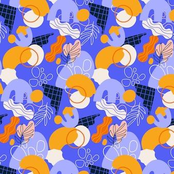 Ręcznie rysowane płaskie abstrakcyjne kształty wzór wzoru