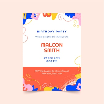 Ręcznie rysowane płaskie abstrakcyjne kształty zaproszenie na urodziny