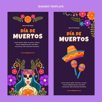 Ręcznie rysowane płaskie banery dia de muertos pionowe