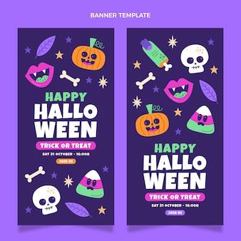 Ręcznie rysowane płaskie banery halloweenowe pionowe