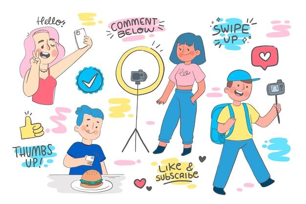 Ręcznie rysowane płaskie blogery
