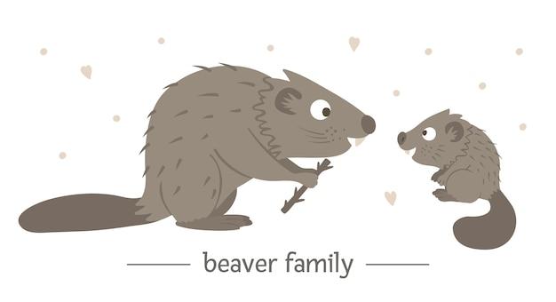 Ręcznie rysowane płaskie dziecko bobra z rodzicem.