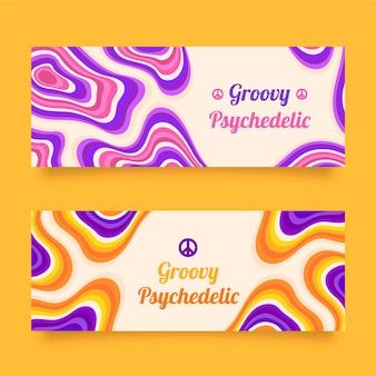 Ręcznie rysowane płaskie, groovy psychodeliczne banery