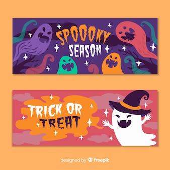 Ręcznie rysowane płaskie halloween banery upiorny sezon