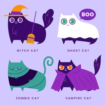 Ręcznie rysowane płaskie halloween koty ilustracja