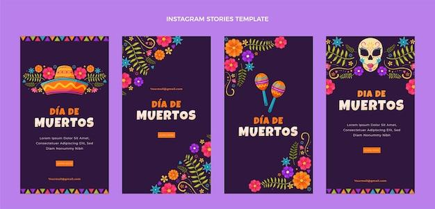 Ręcznie rysowane płaskie historie dia de muertos ig