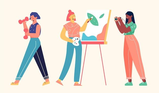 Ręcznie rysowane płaskie hobby ludzi