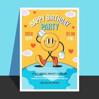 Ręcznie rysowane płaskie modne zaproszenie na urodziny z kreskówek