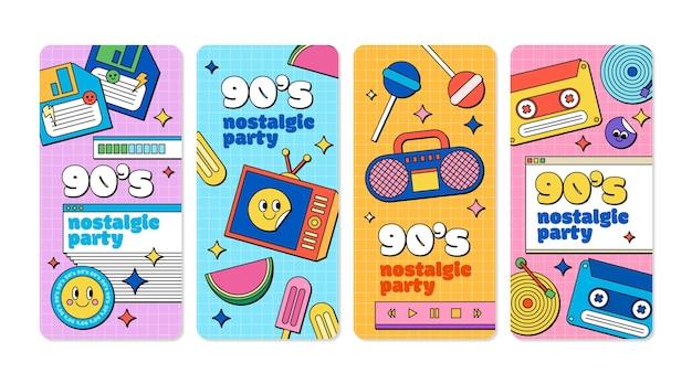 Ręcznie rysowane płaskie, nostalgiczne historie na instagramie z lat 90.