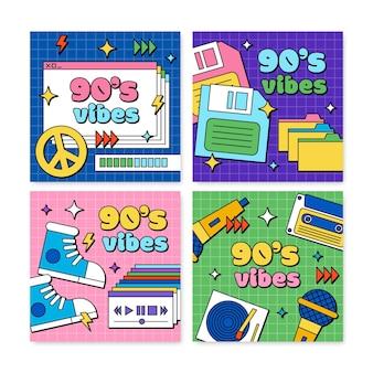 Ręcznie rysowane płaskie nostalgiczne posty na instagramie z lat 90.