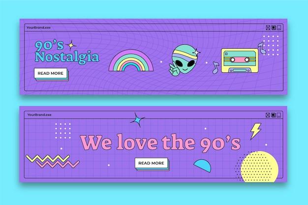 Ręcznie rysowane płaskie nostalgiczne poziome banery z lat 90-tych