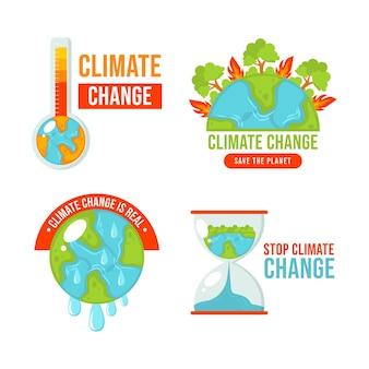 Ręcznie rysowane płaskie odznaki i etykiety dotyczące zmian klimatu