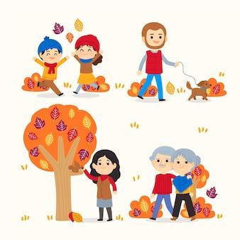 Ręcznie rysowane płaskie osoby jesienią